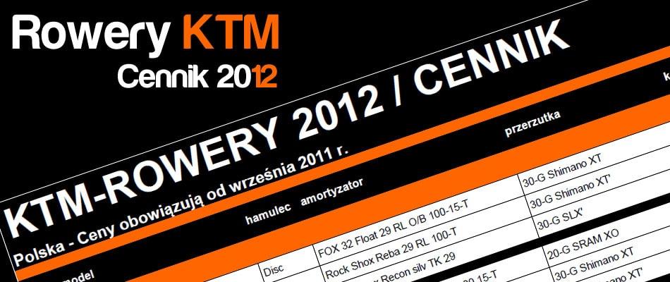 Cennik Rowery KTM 2012