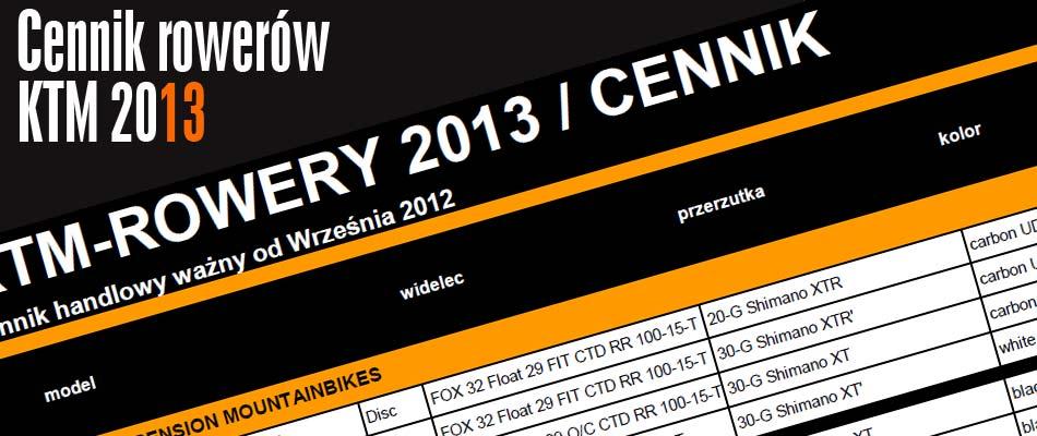 Rowery KTM 2013 - Ceny