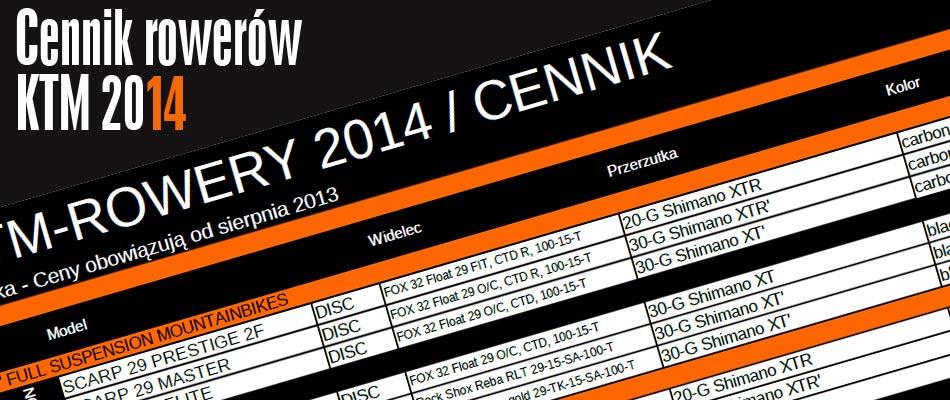 Cennik Rowery KTM 2014